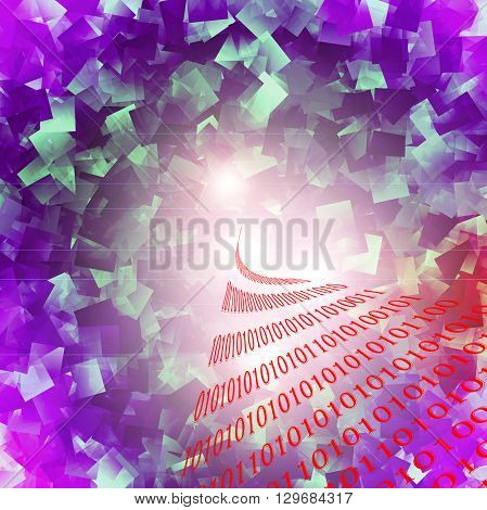 Abstract deep sea gradients coloring background with visual lens distortion,lens flare and cubism effect,binary code numbers one and zero