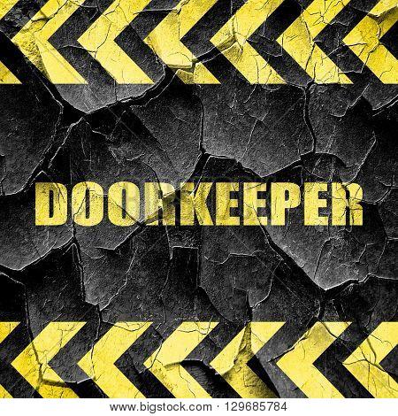doorkeeper, black and yellow rough hazard stripes
