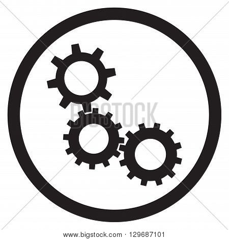 Cogwheel gear mechanism icon black white. Gears wheel cogs and cogwheel vector cog wheels and cogwheel icon. Vector flat design illustration