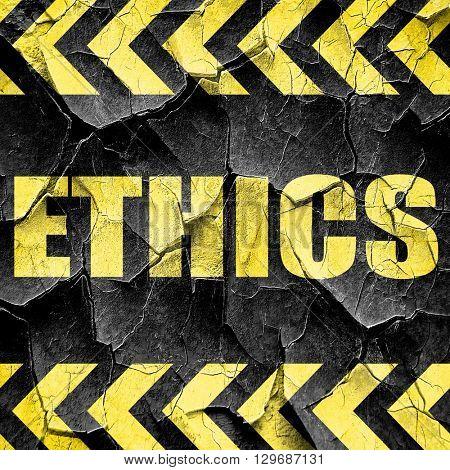ethics, black and yellow rough hazard stripes