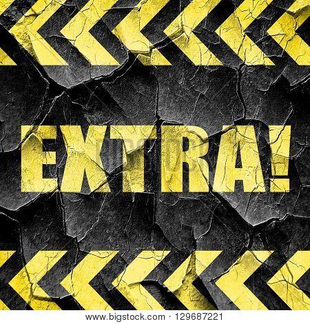 extra!, black and yellow rough hazard stripes