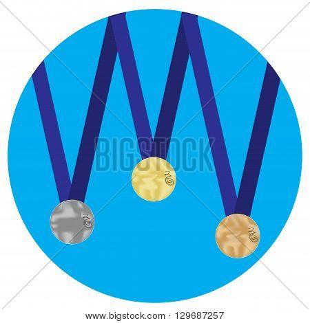Set of medals gold silver bronze icon. Trophy and gold medal award medallion and medal icon set medal award victory. Vector flat design illustration