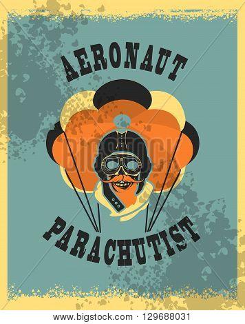Vector illustration in retro style skull dead parachutist in helmet pilot parachute should be grunge head poster