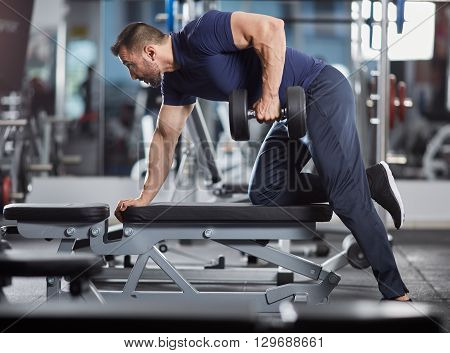 Dumbbell Row In The Gym