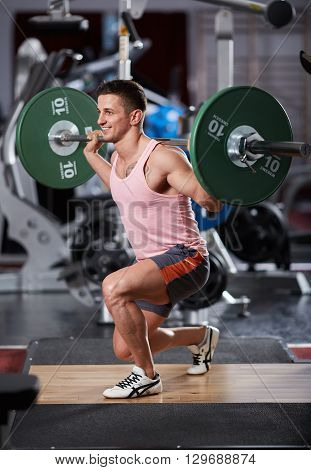 Barbell Lunges In The Gym