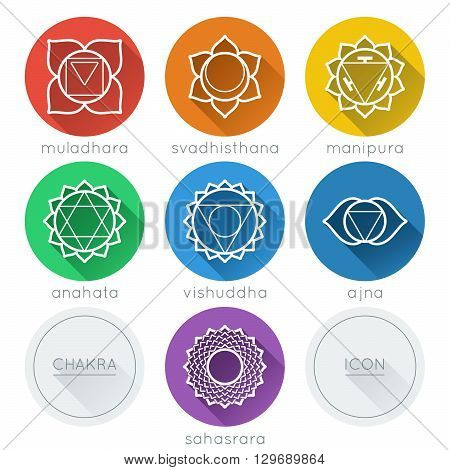 Set of universal round chakras icons with shadow
