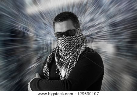 Man In Sunglasses And A Keffiyeh