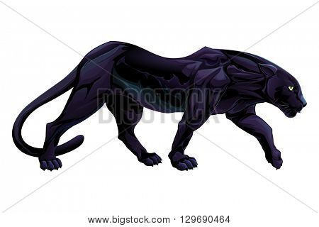 Illustration of a black panther. Vector isolated object.
