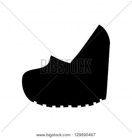 Shoes on platform. High platform shoes. Woman shoes. Vector illustration