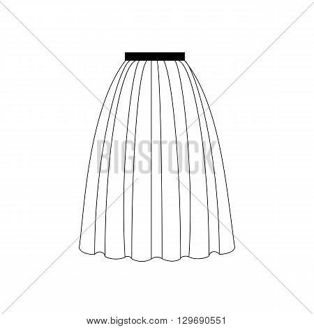 Skirt vector illustration. Long skirt. Accordion skirt. Vector illustration