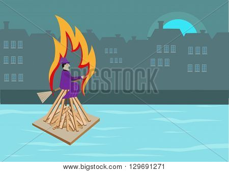Concept Illustration of a witch burning ritual during summer solstice on midsummers day in Europe