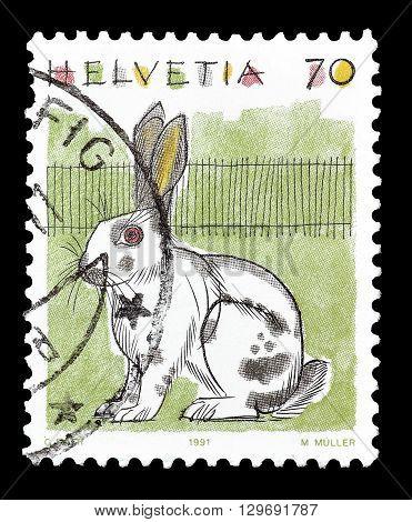 SWITZERLAND - CIRCA 1991 : Cancelled postage stamp printed by Switzerland, that shows Rabbit.