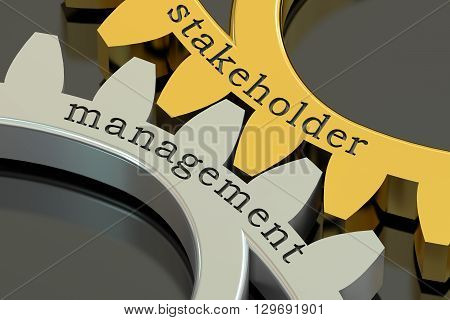 stakeholder management concept on the gearwheels 3D rendering