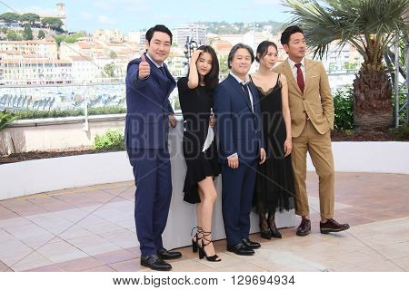 Cho Jin-Woong,  Park Chan-Wook attends 'The Handmaiden (Mademoiselle)' photocall during the 69th annual Cannes Film Festival at the Palais des Festivals on May 14, 2016 in Cannes, France.
