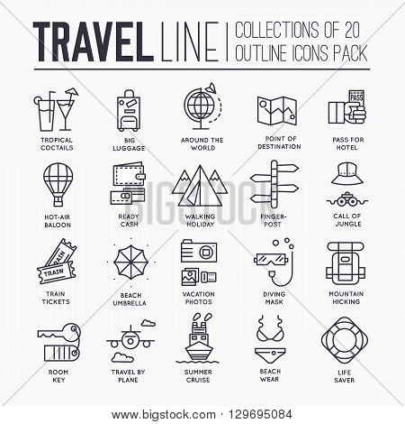 Travel infographic icons items design. Vacation rest with any elements set. Tour, trip, journey outline illustrations vector background. Tourist image on thin line style concept poster