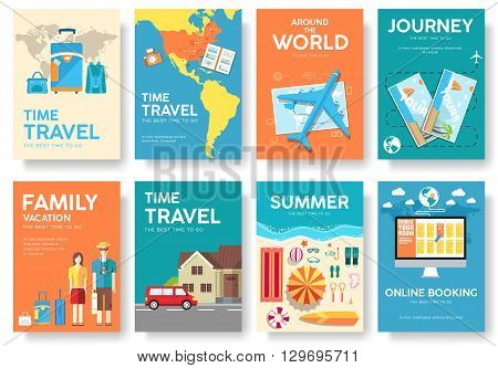 Tour of the world vector brochure set. Travel  icons. Travel posters. Travel booklet. Travel flyer. Flat Travel banners with typography. Travel invitation. Travel cards.. Travel guide