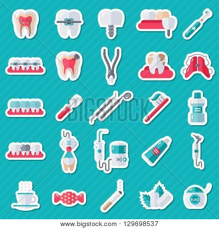 Dental Flat Sticker Icons Set. Vector Illustration for Dentistry and Orthodontics. Stomatology Equipment, Dentist Tools, Toothbrush and Toothpaste, Teeth Cleaning, Implants