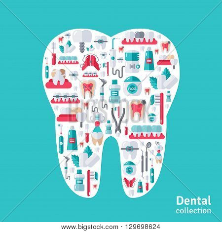 Tooth with dental icons inside. Vector illustration. Teeth Care, Orthodontics and Dentistry symbols.