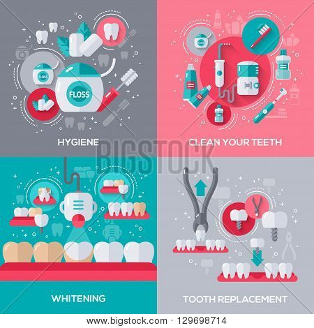 Dentistry Banners Set With Flat Icons. Vector illustration. Hygiene, Cleaning Teeth, Tooth Whitening, Dental Implants and Extraction.