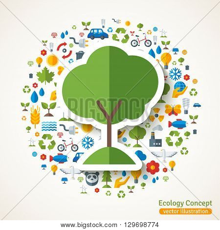 Tree symbol flat sticker. Vector concept illustration with icons of ecology, environment, green energy and pollution. Save the planet. Eco Technology.
