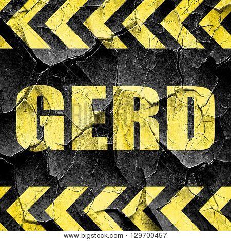 Gerd, black and yellow rough hazard stripes