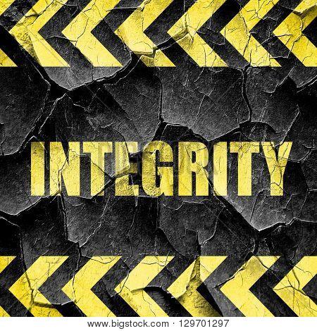 integrity, black and yellow rough hazard stripes