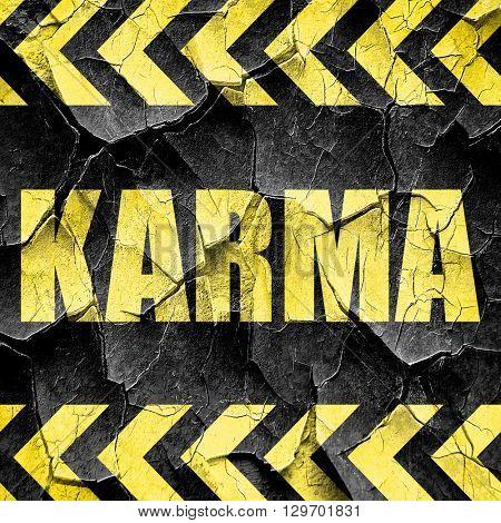 karma, black and yellow rough hazard stripes
