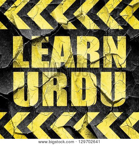 learn urdu, black and yellow rough hazard stripes