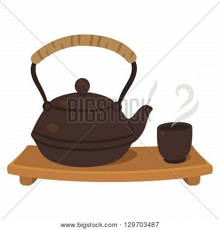 Japanese tea set, teapot and cup on wooden board. Tea ceremony illustration.
