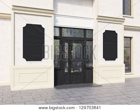 Shop Exterior With Blank Chalkboards