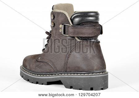 A hiking shoes and a white background