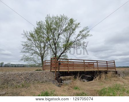 A bridge built on abandoned Railroad line used for  non motorized traffic and nature walks