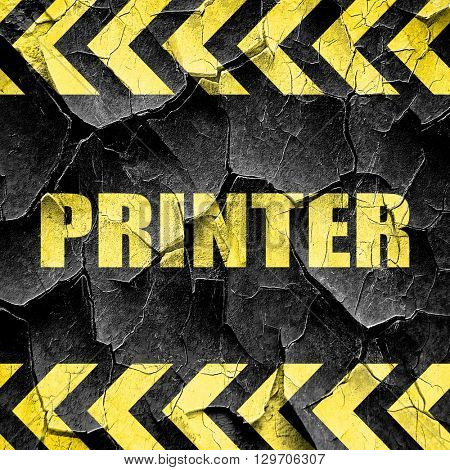 printer, black and yellow rough hazard stripes