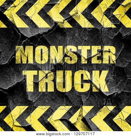 monster truck sign background, black and yellow rough hazard str