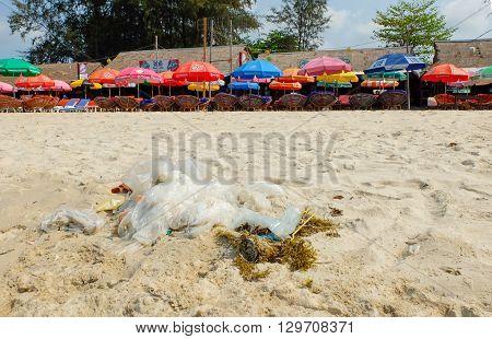Sihanoukville Cambodia - Mar 19 2015 : Garbage on the beach