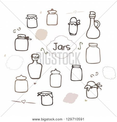Mason Jar. Pickle jars hand drawn set. sketched jars.  Hand drawn jars and bottles. Vector illustration in doodle style.