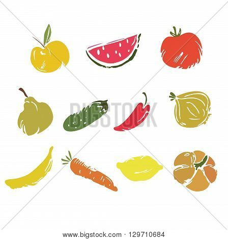 Fruits and vegetables vector set. Fruits and vegetables isolated on white background. Vegetables and fruits doodle set. Fruits and vegetables in hand drawn set.