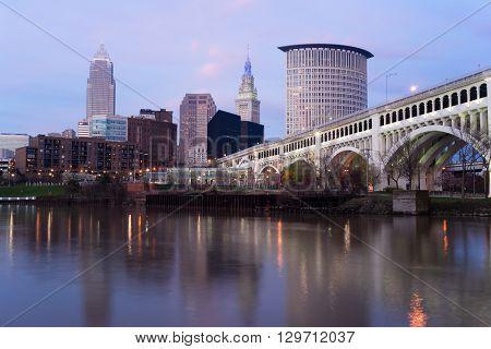 Cleveland Ohio Downtown City Skyline Cuyahoga River