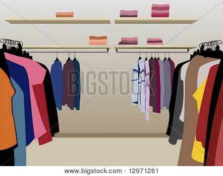 clothes in shop vector poster