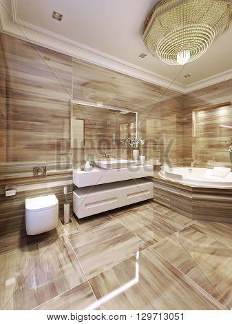 Modern bathroom with jacuzzi, tiled walls. 3d render