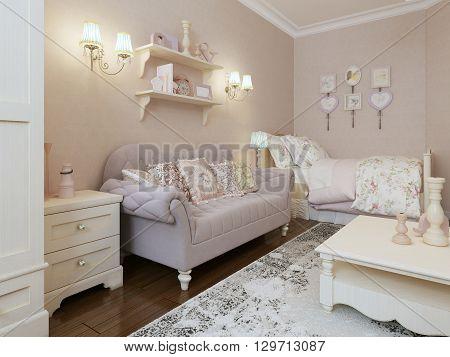 Art deco bedroom style, classic furniture. 3d render