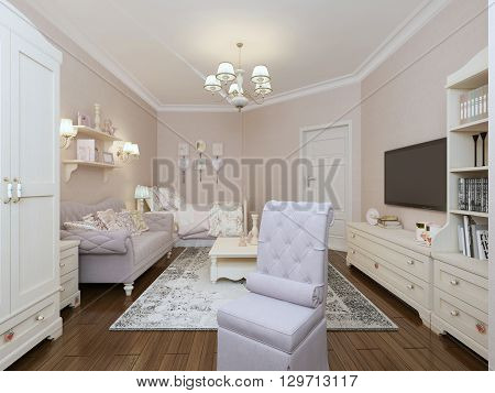 Bedroom in provence style with upholstery furniture. 3d render