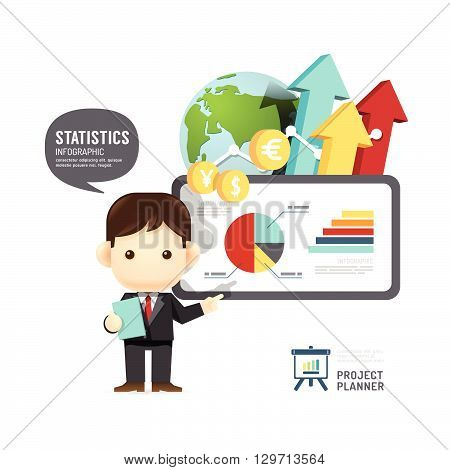 Business design conference man infographic presentation training success. vector illustration
