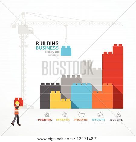 Infographic Template with crane building blocks. concept vector illustration.