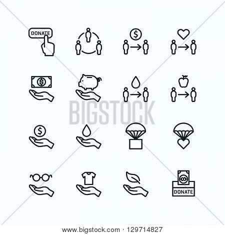 charity and donation silhouette icons flat line design vector