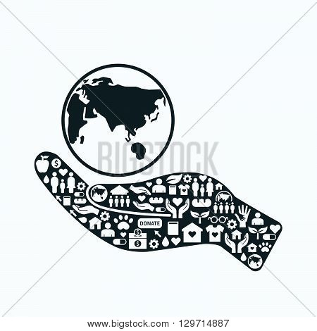 Elements are small icons charity and donation on silhouette hand shape with earth.Vector illustration. concept.