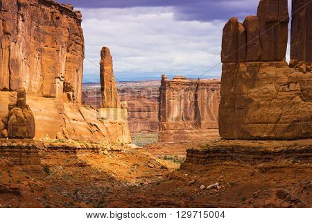 Park Avenue view of Arches National Park scenic landscape view red rock