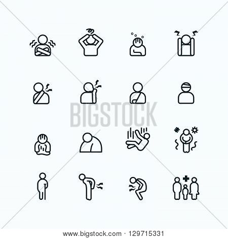 sick and symptoms injuries silhouette icons flat line design vector set