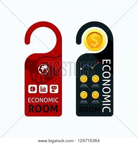 Paper door handle lock hangers concept economic room banner vector set.