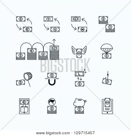 vector linear web icons set - business money currency bill concept collection of flat line design elements.